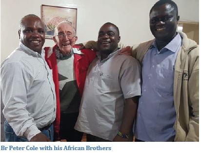 Pictured (left to right): Br. George Massay, Br. Peter Cole, Br. Bonolo Kibakuli and Br. Vincent Mallya.